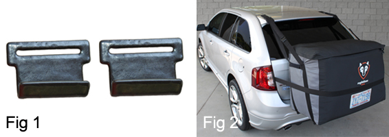 Good Add The Saddlebag Car Clips (Fig 1) To The Side Straps Of The Rightline  Gear Cargo Saddlebag To Attach The Carrier To Vehicles WITHOUT A Roof Rack  (Fig 2).