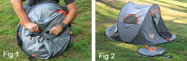 Next stake the (6) loops around the base of the tent (Fig 3) and the (3) guy lines (Fig 4). Finally open the condesation vent (Fig 5). & Pop Up Tents | Instant Pop Up Tent | EZ Tent