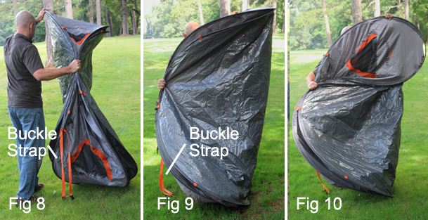 Fold the top half of the tent over the bottom half of the tent to create an  oval shape (Fig 11 cad97af2f47a