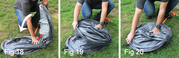 Secure And Store The Pop Up Tent Connect the buckle strap around the folded tent (Fig 21). Place the folded tent and the stake bag into the round carry bag ... & Pop Up Tents | Instant Pop Up Tent | EZ Tent
